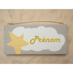Plaque Prénom - Nuage étoilé