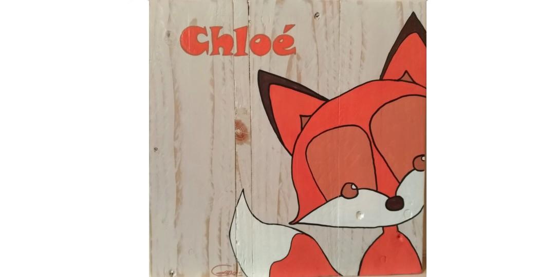 toile en bois peinte à la main motif renard orange et prénom de l'enfant